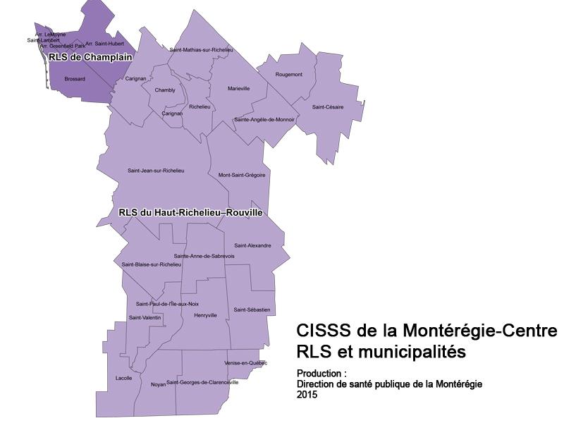 Carte du territoire du CISSS de la Montérégie-Centre